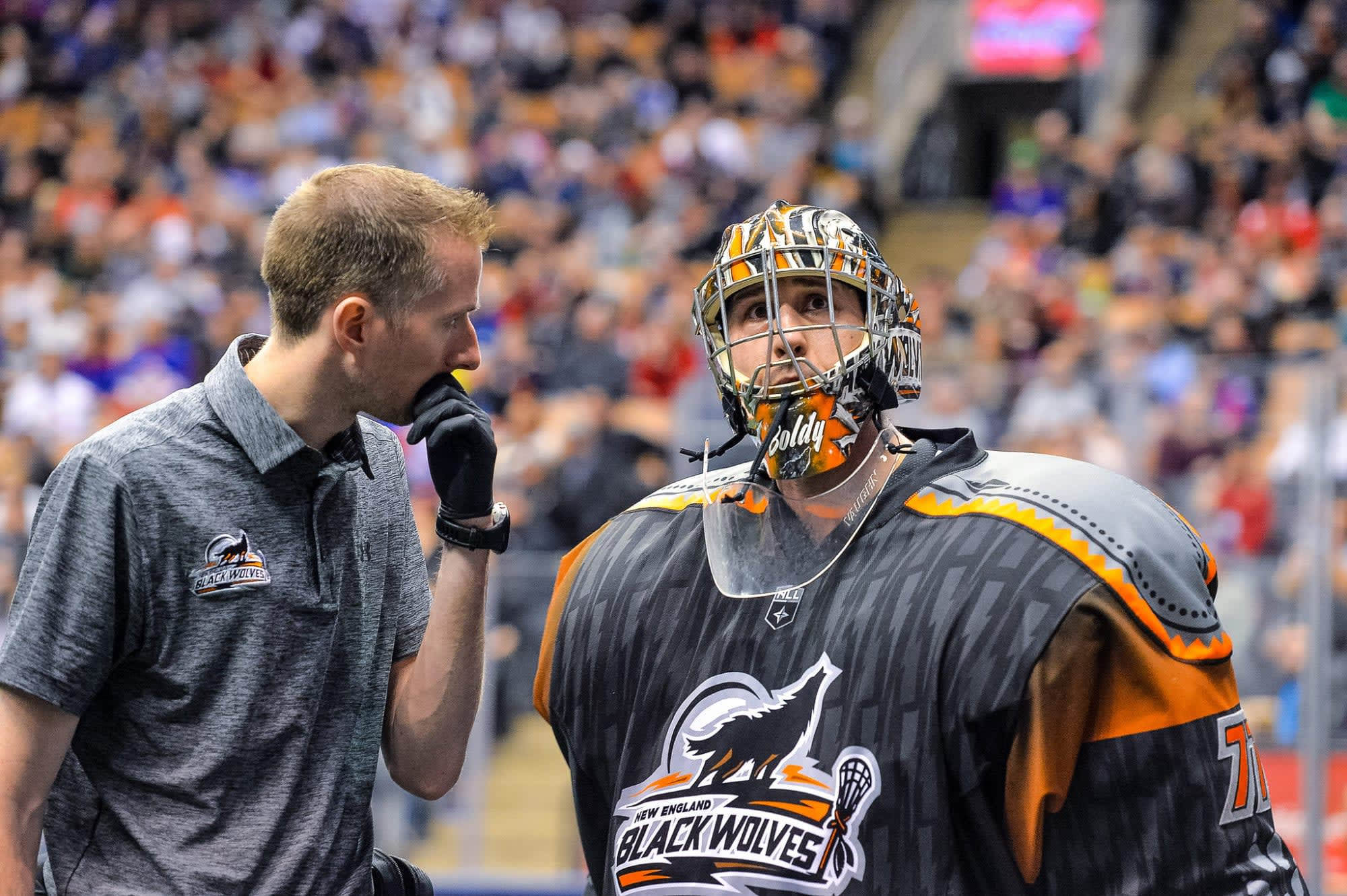 TORONTO, ON - MAR 11, 2018: National Lacrosse League game between the Toronto Rock and the New England Blackwolves, (Photo by Ryan McCullough / NLL) Aaron Bold goaltender