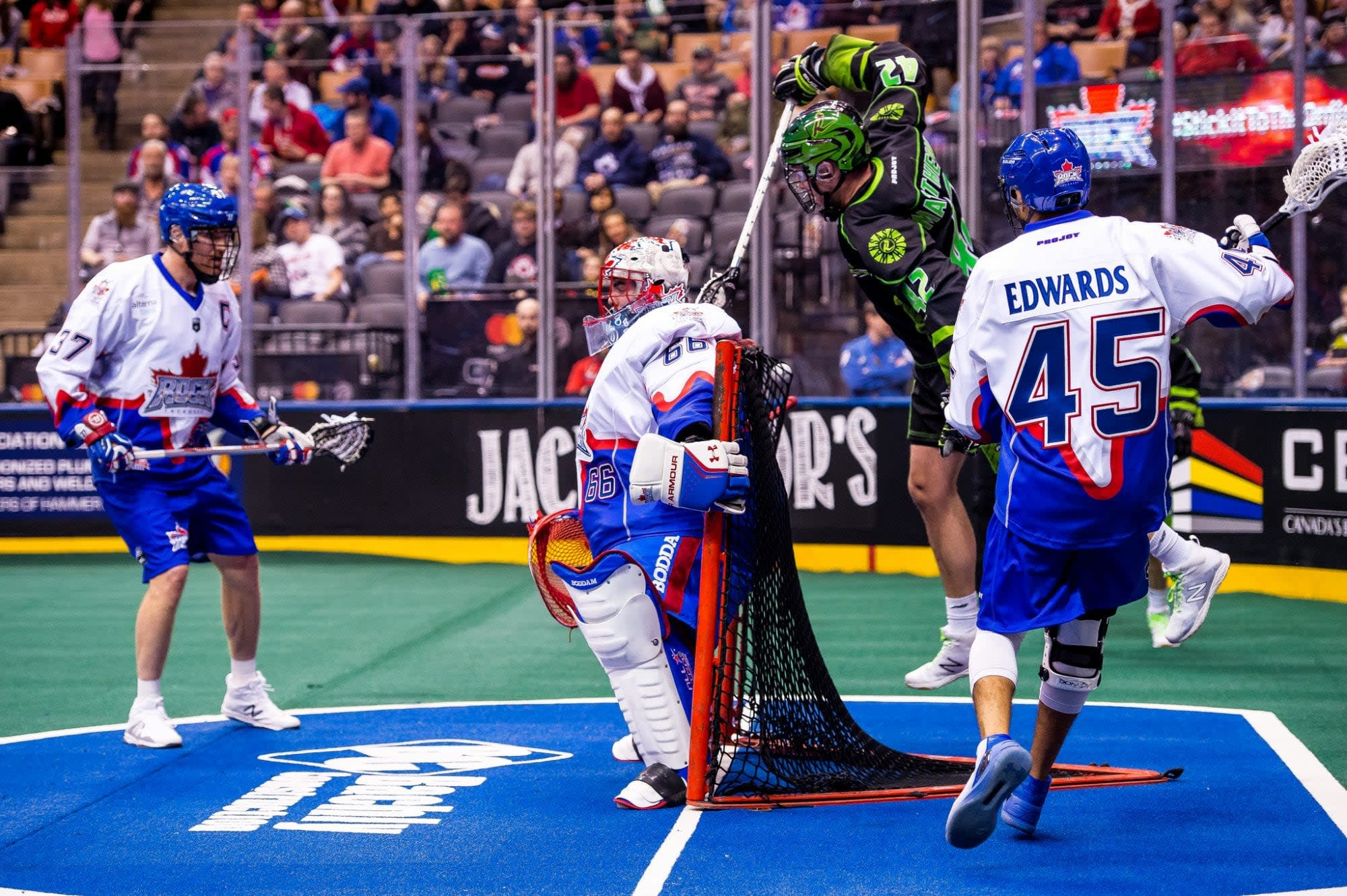 TORONTO, ON - DEC 16, 2017: National Lacrosse League game between the Toronto Rock and the Saskatchewan Rush, (Photo by Ryan McCullough / NLL)