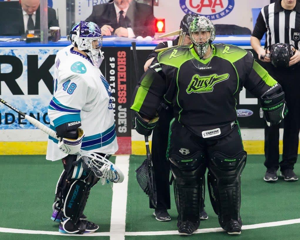 Saksatchewan Rush NLL 2017 Rochester Knighthawks Photo: Calvin So box lacrosse goalie