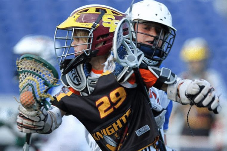 10v10 Youth lacrosse player kid boy