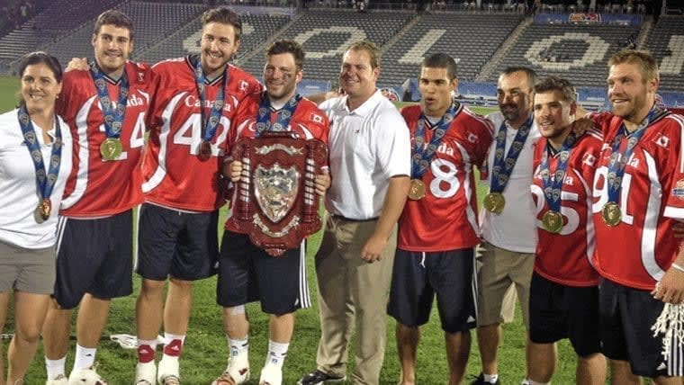 Canadians celebrating a gold medal win over USA at FIL Wold Championships 2014