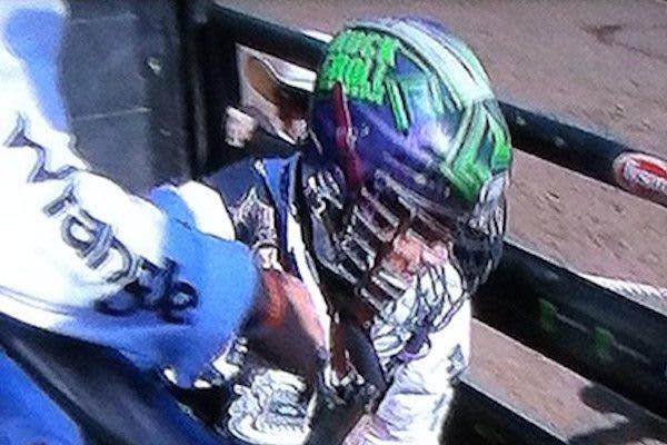 spotted bull riding box lacrosse helmet