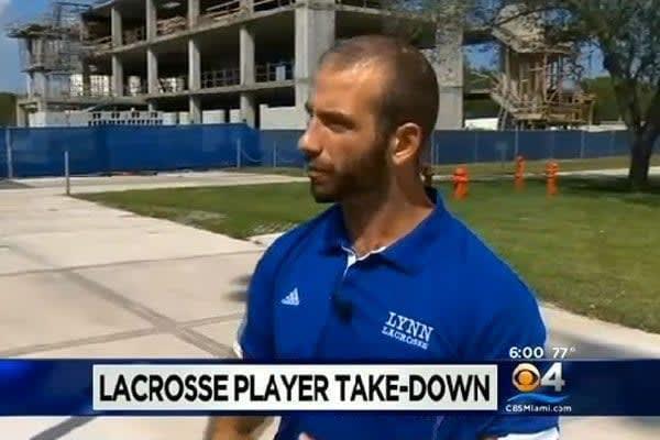 Lynn University lacrosse Brandon Rothstein tackle hit and run