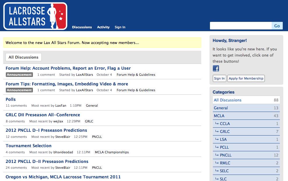 LaxAllStars forum screenshot