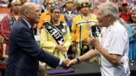 Oren Lyons Stan Cockerton Canada Wins WILC 2015 Over the Iroquois Nationals