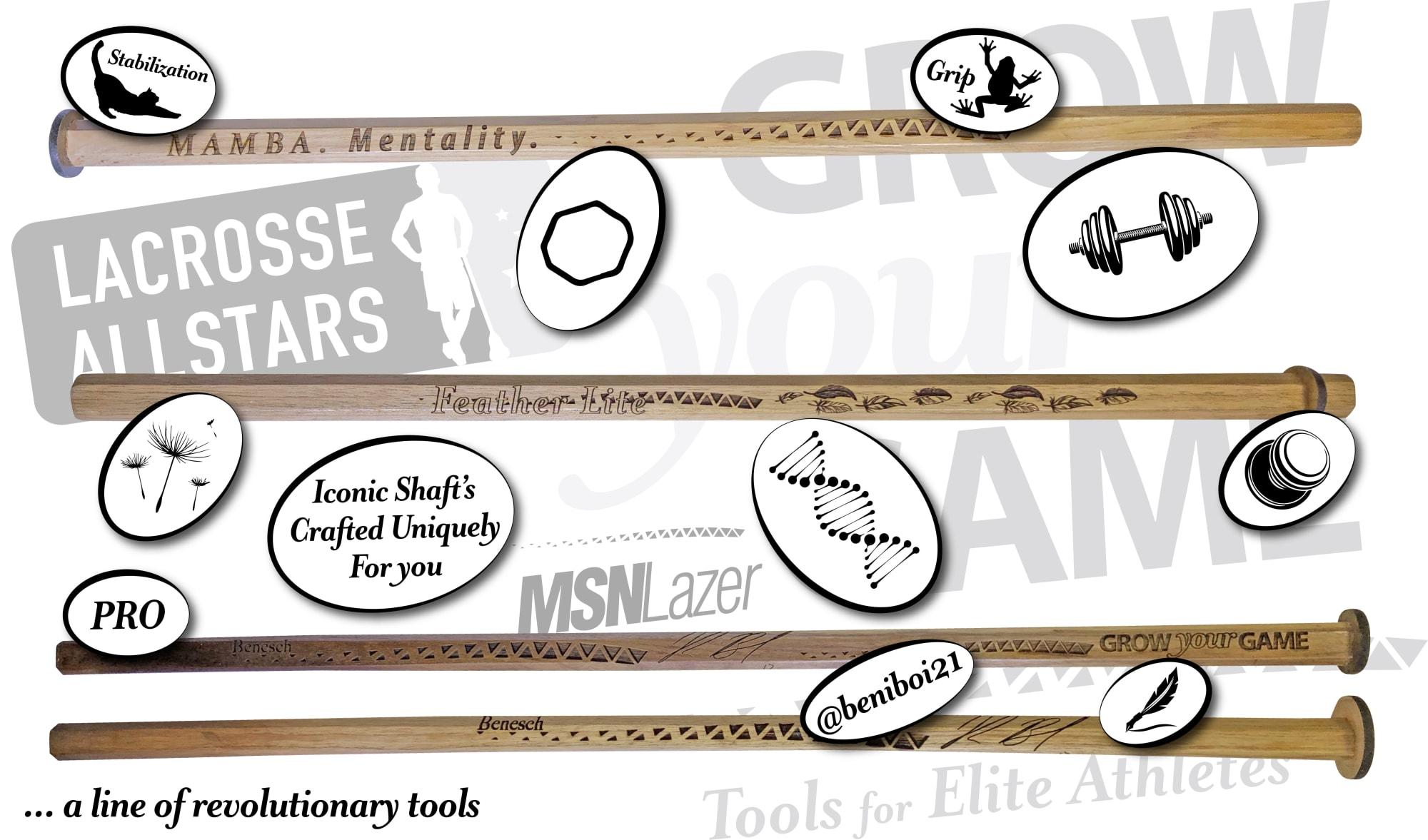 wood lacrosse shafts by msn lazer