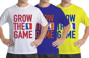 Custom men's Grow The Game t-shirts