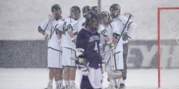 snow lacrosse Loyola holy cross play college lacrosse