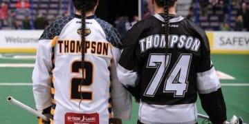 Miles Thompson and Jeremy Thompson Minnesota Swarm vs Edmonton Rush NLL Photo Credit: Dale MacMillan