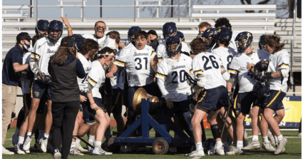 The Aquinas Saints are one of the teams whose stock is rising in NAIA men's lacrosse after walloping Michigan-Dearborn, 21-5.