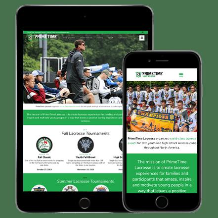 primetime lacrosse website development
