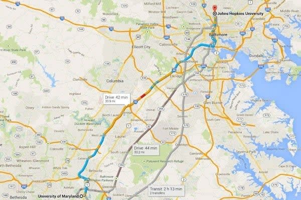 Map from Johns hopkins to university of maryland