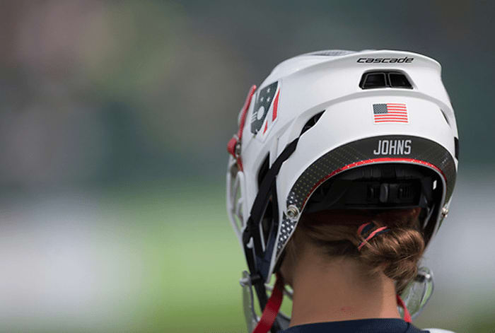 USA's Gussie Johns during their semi-final at the 2017 FIL Rathbones Women's Lacrosse World Cup, at Surrey Sports Park, Guildford, Surrey, UK, 20th July 2017.