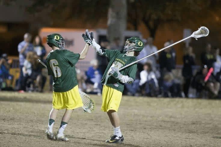 Austin Lewis Oregon Ducks goalie at Palm Desert vs BYU