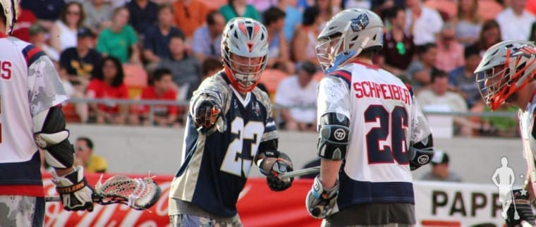Drew Snider plays defense on Tom Schrieber at the MLL ASG 2015