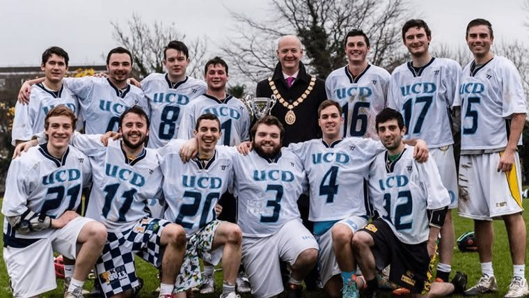 UCD as winners of the Newtownards Cup, December 2014 with the Lord Mayor of Newtownards