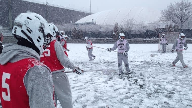 Brown lacrosse tryout snow practice