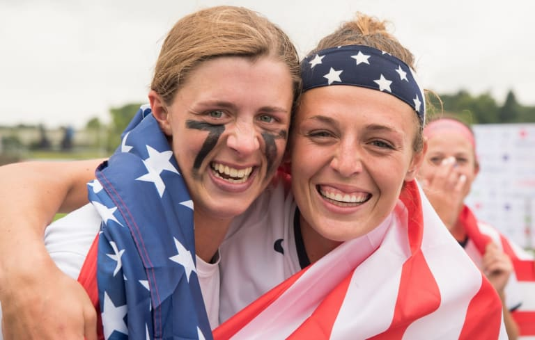 Gussie Johns(L) and Taylor Cummings(R) celebrate at the 2017 FIL Rathbones Women's Lacrosse World Cup at Surrey Sports Park, Guilford, Surrey, UK, 15th July 2017