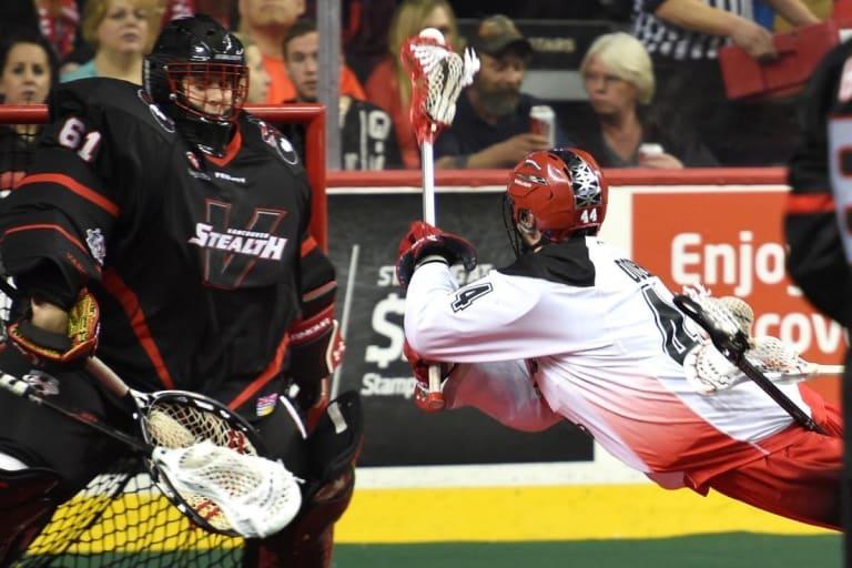 Eric Penney Dane Dobbie NLL Week 5 Vancouver Stealth vs Calgary Roughnecks Photo Credit: Candice Ward