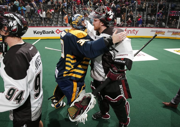 NLL Goalies Mike Poulin (L) and Dillon Ward (R). Photo: Jack Dempsey