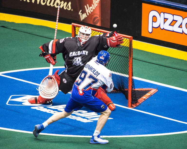 Christian Del Bianco Calgary Roughnecks Toronto Rock 2018 NLL Photo: Ryan McCullough