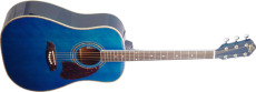 Oscar Schmidt Western Gitarr Gran/Mah. Transp Blue