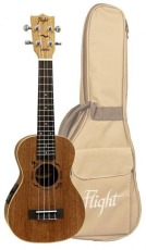 Flight Concert Ukulele Solid Mahogny m/pickup & bag