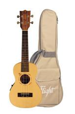Flight Concert Ukulele Solid Spruce m/pickup & bag