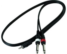 RockCable Patch Cable 2 x TS Jack (6.3 mm / 1/4) to TRS Jack (3.5 mm / 1/8) 1 m / 3.3 ft.