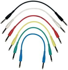 RockCable Patch Cable straight TS (6.3 mm / 1/4) multi color 6 pcs. 30 cm / 11 13/16