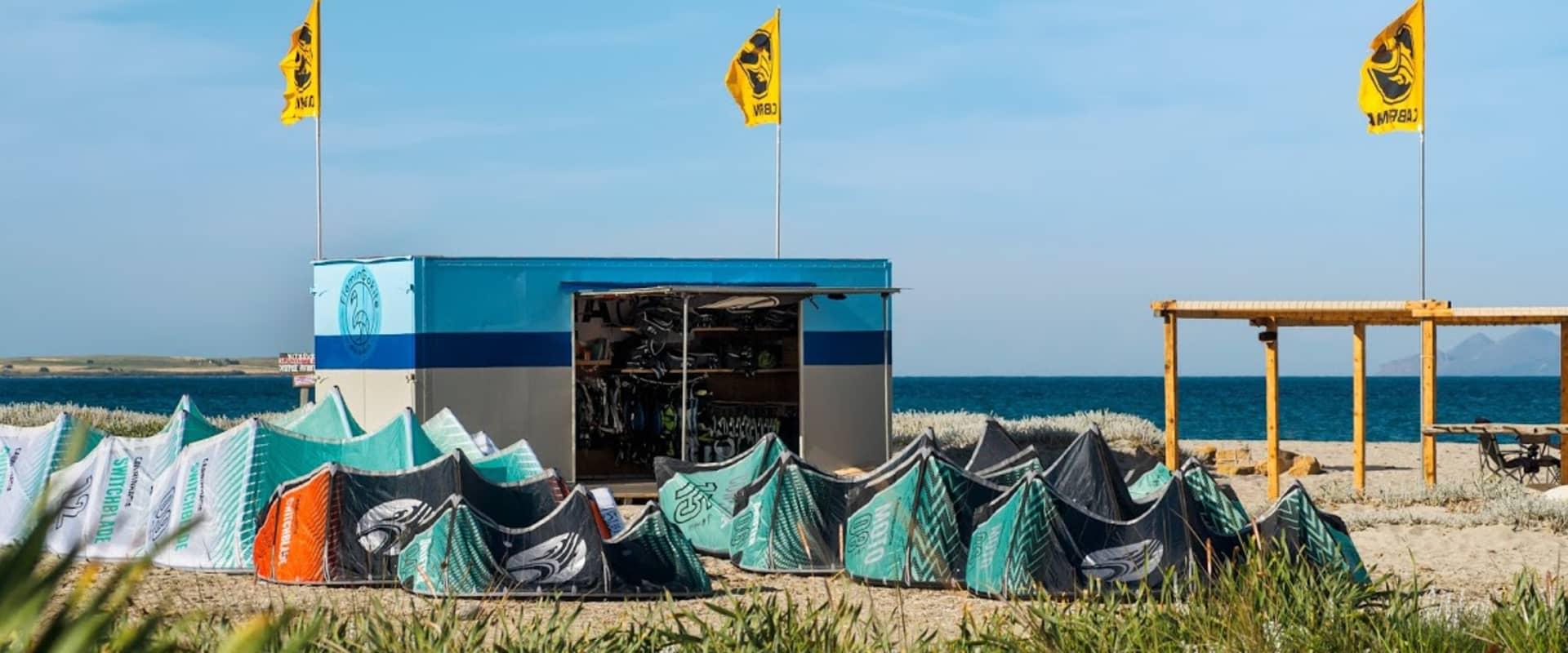 FlaminGokite Station at Aliki beach, Limnos island with new cabrinha 2021 kites