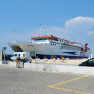 """The ferry boat from Kavala arrives in Skala Prinos, Thassos island, Greece"" stock image"