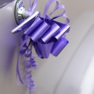 """Wedding car door handle with purple ribbon"" stock image"