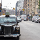 """English taxi in New York"" stock image"