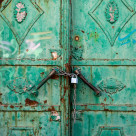 """Rusty green door"" stock image"