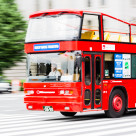 """""""TOKYO - CIRCA JULY 2014: Tokyo Sky Bus, operated by Hinomaru Jidosha Kogyo. It is the first open roof tour bus in Tokyo"""" stock image"""