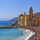 """Camogli, people enjoying the summer day on the strand"" stock image"