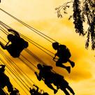 """""""Children on swings"""" stock image"""
