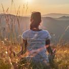 """Meditation at sunset"" stock image"