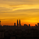 """skyline on sunset"" stock image"