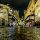 """Night-time street scene, Florence, Italy"" stock image"