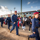 """War refugees at the Gyekenyes Railway Station"" stock image"