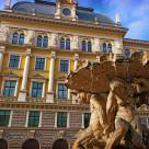 """Trieste, Italy - Vittorio Veneto Square, Tritons fountain"" stock image"