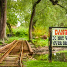 """Danger Bridge"" stock image"