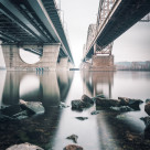 """New Darnystkyi Bridge II | Kiev, Ukraine 2015"" stock image"