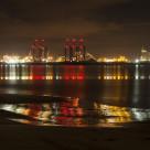 """Liverpool Docks Lightshow"" stock image"