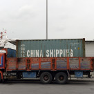 """Truck with container in the cargo port of Istanbul"" stock image"