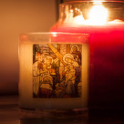 """Votive candle with the Holy Family"" stock image"