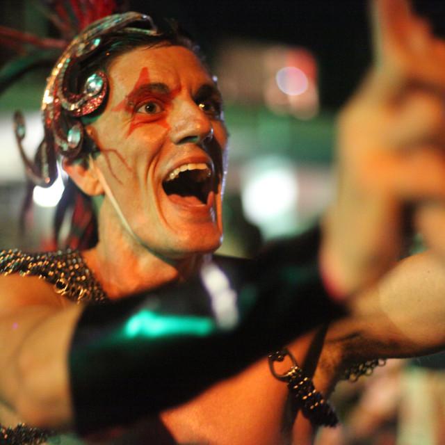 """""""Mardi Gras Reveller"""" stock image"""