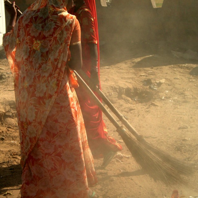 """""""Sweeping in the Dust"""" stock image"""